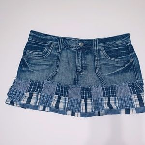 Junior's 9 Plaid Mini Jean Skirt Mudd Washed Denim